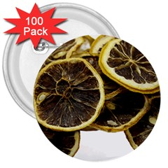 Lemon Dried Fruit Orange Isolated 3  Buttons (100 Pack)