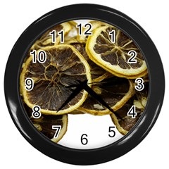 Lemon Dried Fruit Orange Isolated Wall Clocks (black) by Nexatart