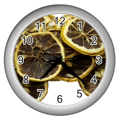 Lemon Dried Fruit Orange Isolated Wall Clocks (silver)  by Nexatart