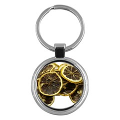 Lemon Dried Fruit Orange Isolated Key Chains (round)  by Nexatart
