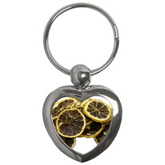 Lemon Dried Fruit Orange Isolated Key Chains (heart)  by Nexatart