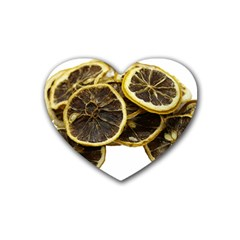 Lemon Dried Fruit Orange Isolated Rubber Coaster (heart)  by Nexatart