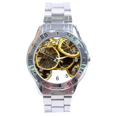 Lemon Dried Fruit Orange Isolated Stainless Steel Analogue Watch