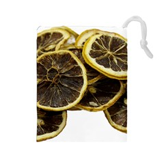 Lemon Dried Fruit Orange Isolated Drawstring Pouches (large)