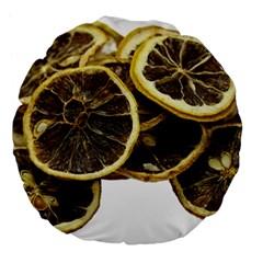 Lemon Dried Fruit Orange Isolated Large 18  Premium Flano Round Cushions by Nexatart