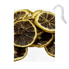 Lemon Dried Fruit Orange Isolated Drawstring Pouches (extra Large) by Nexatart