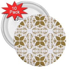 Pattern Gold Floral Texture Design 3  Buttons (10 Pack)