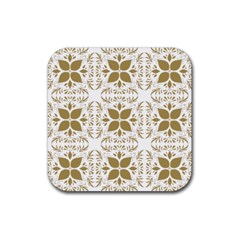 Pattern Gold Floral Texture Design Rubber Square Coaster (4 Pack)