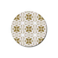 Pattern Gold Floral Texture Design Rubber Coaster (round)