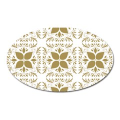 Pattern Gold Floral Texture Design Oval Magnet by Nexatart