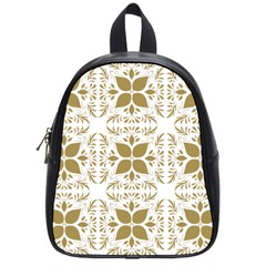 Pattern Gold Floral Texture Design School Bags (small)  by Nexatart