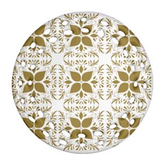Pattern Gold Floral Texture Design Round Filigree Ornament (two Sides) by Nexatart