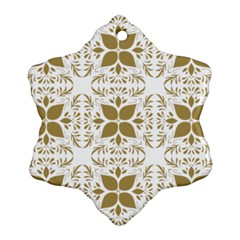 Pattern Gold Floral Texture Design Snowflake Ornament (two Sides) by Nexatart