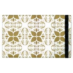 Pattern Gold Floral Texture Design Apple Ipad 2 Flip Case by Nexatart