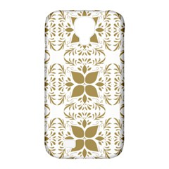 Pattern Gold Floral Texture Design Samsung Galaxy S4 Classic Hardshell Case (pc+silicone) by Nexatart