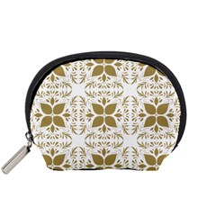 Pattern Gold Floral Texture Design Accessory Pouches (small)  by Nexatart