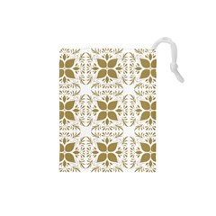 Pattern Gold Floral Texture Design Drawstring Pouches (small)  by Nexatart