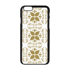 Pattern Gold Floral Texture Design Apple Iphone 6/6s Black Enamel Case by Nexatart