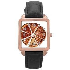 Food Fast Pizza Fast Food Rose Gold Leather Watch