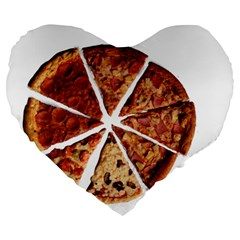 Food Fast Pizza Fast Food Large 19  Premium Flano Heart Shape Cushions