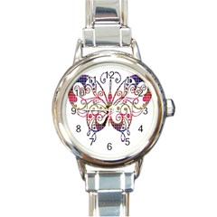 Butterfly Nature Abstract Beautiful Round Italian Charm Watch
