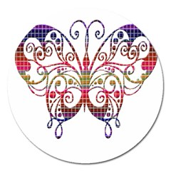 Butterfly Nature Abstract Beautiful Magnet 5  (round)