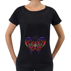 Butterfly Nature Abstract Beautiful Women s Loose Fit T Shirt (black) by Nexatart