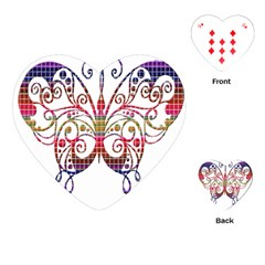 Butterfly Nature Abstract Beautiful Playing Cards (heart)  by Nexatart