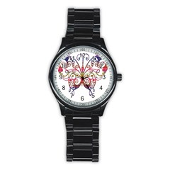 Butterfly Nature Abstract Beautiful Stainless Steel Round Watch by Nexatart