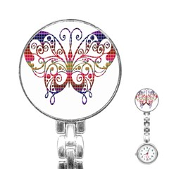 Butterfly Nature Abstract Beautiful Stainless Steel Nurses Watch by Nexatart