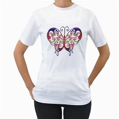 Butterfly Nature Abstract Beautiful Women s T Shirt (white)
