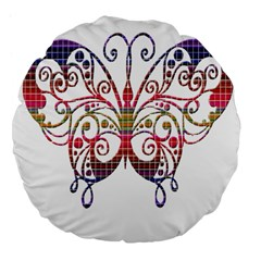 Butterfly Nature Abstract Beautiful Large 18  Premium Flano Round Cushions by Nexatart