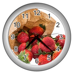 Strawberries Fruit Food Delicious Wall Clocks (silver)