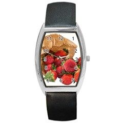 Strawberries Fruit Food Delicious Barrel Style Metal Watch by Nexatart