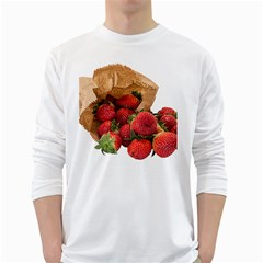 Strawberries Fruit Food Delicious White Long Sleeve T Shirts