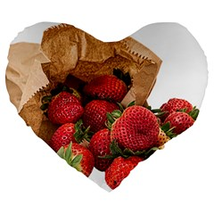 Strawberries Fruit Food Delicious Large 19  Premium Heart Shape Cushions by Nexatart