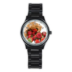 Strawberries Fruit Food Delicious Stainless Steel Round Watch by Nexatart