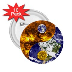 Design Yin Yang Balance Sun Earth 2 25  Buttons (10 Pack)  by Nexatart