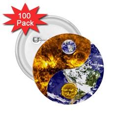 Design Yin Yang Balance Sun Earth 2 25  Buttons (100 Pack)