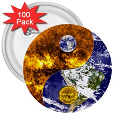 Design Yin Yang Balance Sun Earth 3  Buttons (100 Pack)  by Nexatart