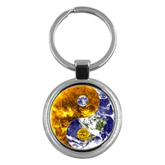 Design Yin Yang Balance Sun Earth Key Chains (round)  by Nexatart
