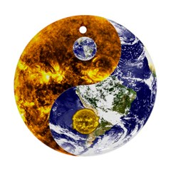 Design Yin Yang Balance Sun Earth Round Ornament (two Sides) by Nexatart
