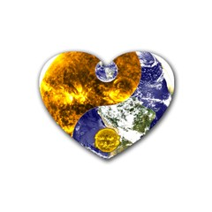 Design Yin Yang Balance Sun Earth Rubber Coaster (heart)  by Nexatart