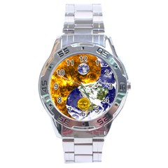 Design Yin Yang Balance Sun Earth Stainless Steel Analogue Watch by Nexatart