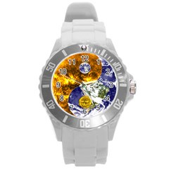 Design Yin Yang Balance Sun Earth Round Plastic Sport Watch (l)