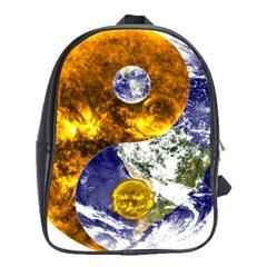 Design Yin Yang Balance Sun Earth School Bags (xl)