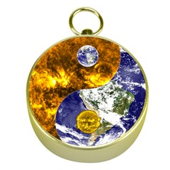 Design Yin Yang Balance Sun Earth Gold Compasses