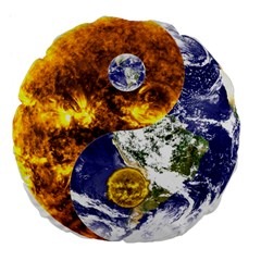 Design Yin Yang Balance Sun Earth Large 18  Premium Flano Round Cushions by Nexatart