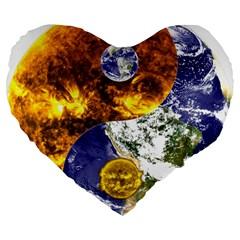 Design Yin Yang Balance Sun Earth Large 19  Premium Flano Heart Shape Cushions