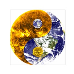 Design Yin Yang Balance Sun Earth Small Satin Scarf (square) by Nexatart